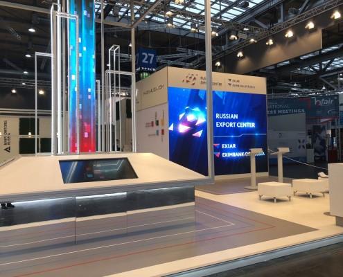 HMI Hannover Messe 2018, LED Wand und Säule